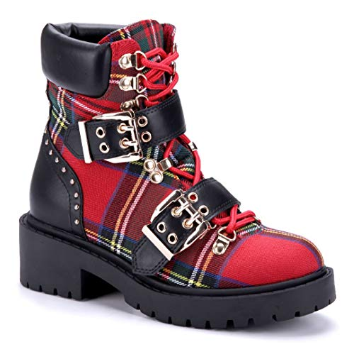 Schuhtempel24 Damen Schuhe Boots Stiefel Stiefeletten rot Blockabsatz Schnalle/Nieten/kariert 5 cm