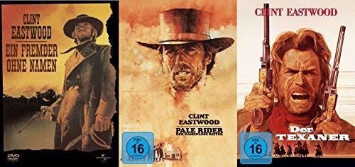 Clint Eastwood - Uncut Outlaw Western Collection - Ein Fremder ohne Namen + Pale Rider - Der namenlose Reiter + Der Texaner 3 DVD Limited Edition