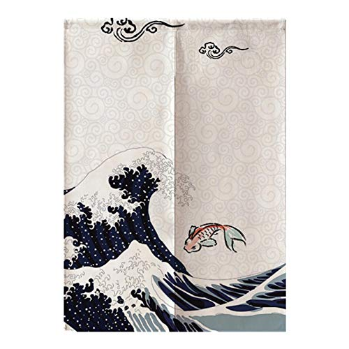 """Great Wave Style Noren Japanese Curtain Doorway,Japanese Curtains,Bedroom Kitchen Blackout Curtains, (33.5"""" 47.2"""")"""