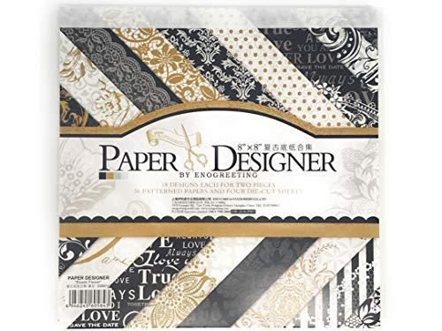 20 x 20 cm bedrucktes Papier mit Stanzformen – 18 Designs x 2, 4 Blatt Stanzform, in vergoldeter Spitze