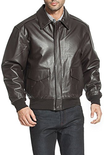 Landing Leathers Men Air Force A-2 Leather Flight Bomber Jacket Brown Large