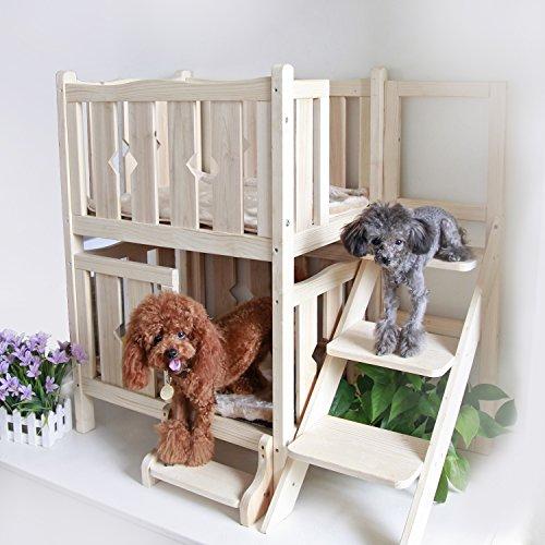 Petsfit Double-Decker Solid Wood Pet Bed(W/O Mat) 18' Lx24 Wx34 H