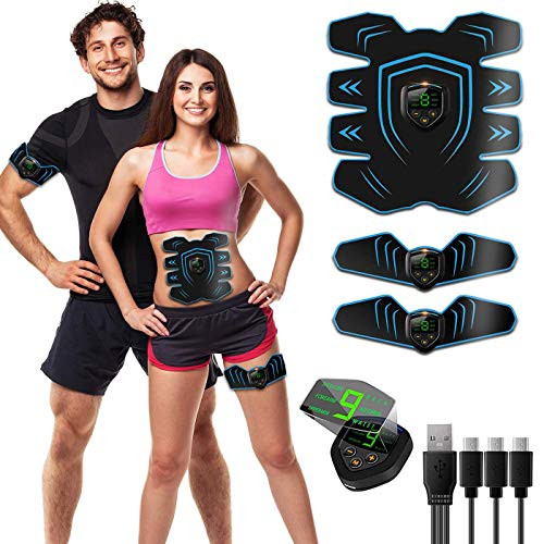 ROOTOK EMS Trainingsgerät EMS Bauchmuskeltrainer,Bauch trainingsgerät 9 Modi Muskelaufbau und Figurformung - USB Wiederaufladbare Ultimative Elektrische Muskelstimulator