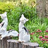 Sungmor Adorable statue de chat assis pour jardin - Décoration d'intérieur ou d'extérieur - Décoration pour maison, jardin, cour, plantes, bibliothèque, table, escaliers