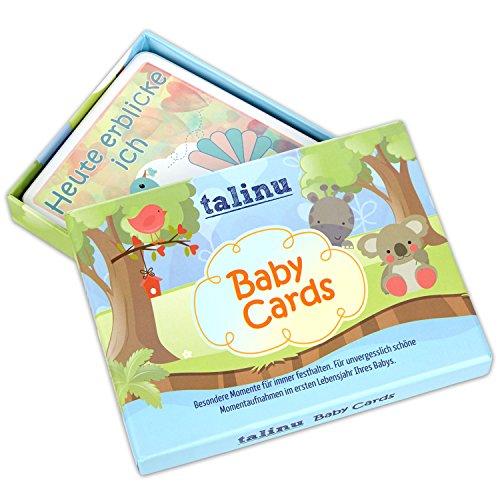 TALINU Meilensteinkarten - Baby Erinnerungskarten für das erste Lebensjahr Ihres Babys