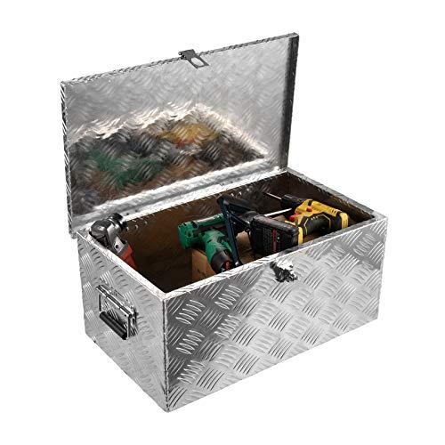 Aluminium Box, WIUANG Werkzeugbox, Werkzeugkiste mit Schloss und Griffen, Transportbox Transportkiste Munitionskiste Werkzeug Alu Kiste (Silber 1)