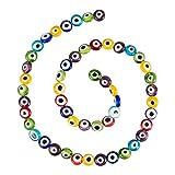 NBEADS 1 Filamento sobre 51Pcs Color Mezclado Plana Redonda Hecha A Mano Mal de Ojo Lampwork Beads Charms Spacer Beads Fit Pulseras Collar Fabricación de Joyas