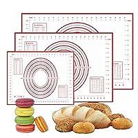 Kingsie クッキングマット シリコン 断熱パッド 製菓 キッチン用 半透明 パンマット オーブン マット目盛りを付く お菓子作り 調理台 繰り返し使用可能 (M 30*40cm)