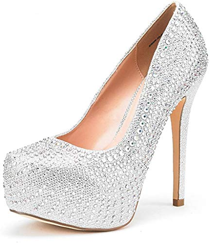 DREAM PAIRS Women's Swan-30 Shine Silver High Heel Plaform Dress Pump Shoes - 9.5 M US