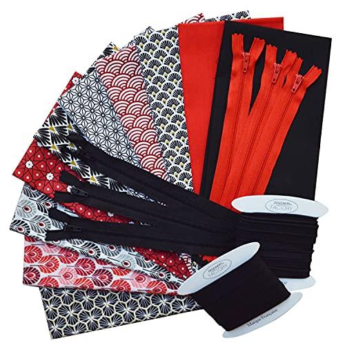 Lote de 8 retales de tela estampada 50 x 50 cm + 2 retales de tejido de popelina de algodón 45 x 50 cm + ribete y bies de algodón (5 m cada uno) + regalo: 6 cremalleras surtidas (lote G).