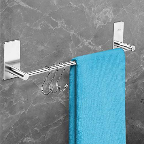 BORBETO® Handtuchstange – Hochwertige Edelstahloptik – Inklusive [3] Handtuchhaken – Handtuchhalter ohne Bohren – Handtuchstange [40]cm