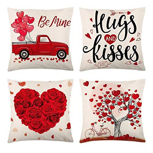 YUWEX Kissenbezug 4er Set 45x45cm für Valentinstag Baumwollleinen Personalisierte Kissen für Wohnzimmer, Schlafzimmer, Sofa, Couch, Auto, Sitz, Büro(no Füllung)