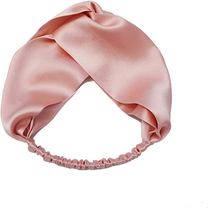 CHARIXI 100% Mulberry Silk Head Wrap Elastic Headband Pink
