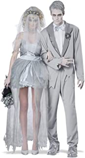 Suit Halloween Couple Costumes Ghost Bride Ghost Groom White Suit Zombie Bride White Veil with Comb Gothic Clothing Perform Costumes Ghost Ship Funcy Dress Cosplay Carnival Blood/White/Unifor