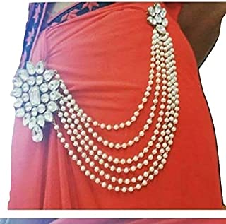 JN HANDICRAFT White Copper Multilayer Waist Belt/Belly Chain and Saree Pin for Women