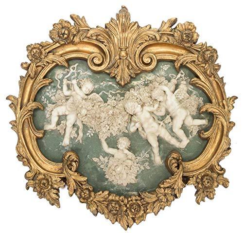 aubaho Bild Relief mit Rahmen 63x65cm Engel Putte Alabaster Imitat antik Stil