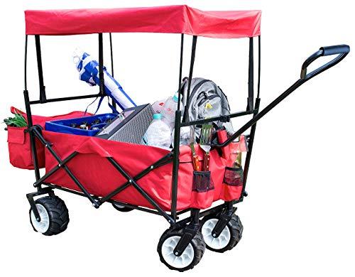 Xcase Handwagen: Faltbarer Bollerwagen mit Dach und Offroad-Rädern, 80 kg Tragkraft (Falt-Bollerwagen)