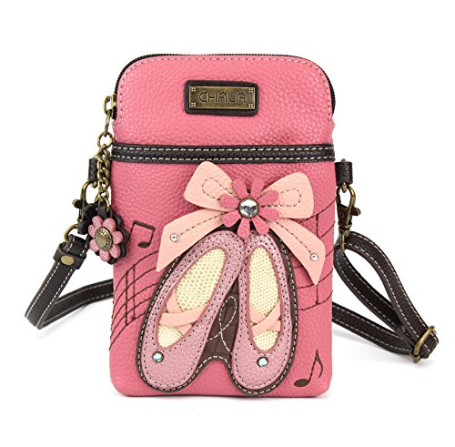 Chala Crossbody Cell Phone Purse-Women PU Leather Multicolor Handbag with Adjustable Strap (Ballerina Pink)