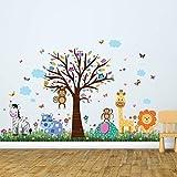 Wall Stickers'Happy Zoo & Butterflies Grass' Wall Murals Removable Self-Adhesive Decals Art Nursery Kindergarden School Baby Toddler Children Kids Room Decoration