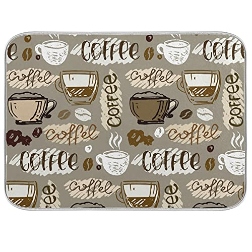 Coffee Dish Drying Mat for Kitchen Counter Decor Eat Signs 18x24 Inch Absorbent Reversible Microfiber Dish Drying Pad Dish Cafe Drainer Rack Mats for Coffee Bar