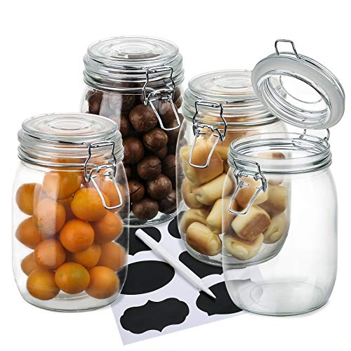 Wide Mouth Mason Jars,OAMCEG 4-Piece 34oz Airtight Glass Preserving Jars with Leak Proof Rubber Gasket and Clip Top Lids, Perfect for Storing Coffee, Sugar, Flour or Sweets - 8 Labels & 1 Chalk Marker