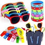 48pcs Party Favors for Kids, Goody Bag Stuffers in Bulk - 12 Kids Sunglasses, 12 Whistles, 12 Bracelets, 12 Goody Bags, Pool Party Favors, Fun Gifts, Party Toys, Gift for Birthday Party Supplies