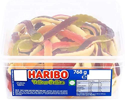2 x contenitori completi Haribo dolci, bomboniere, caramelle all'ingrosso (pancia gialla)