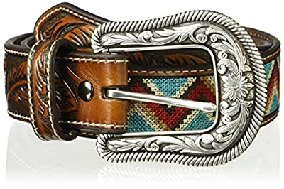 Ariat Women's Chevron Ribbon Feather Billet Belt, brown, Extra Large