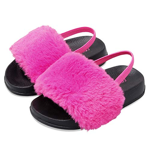 FEETCITY Fuzzy House Sandals Girls Faux Fur Slide Toddler Furry Slippers Comfortable 8.5 Toddler Rose