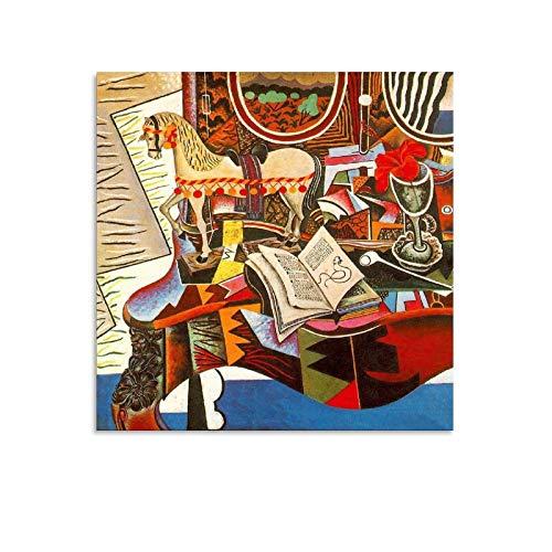 LIUSHUANG Cuadro de lienzo con diseño de caballo, pipa y flores rojas por Joan Miró Pintor y cuadro de arte para pared moderno para dormitorio familiar de 40 x 40 cm