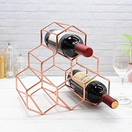 NBVCX Zuhause Decoration Roségold Metall Weinregal Freistehende Arbeitsplatte Weinflaschenhalter 6 Flaschen Space Saver Protector Geometrisches Design für Weinkeller Bar Schrank Rack