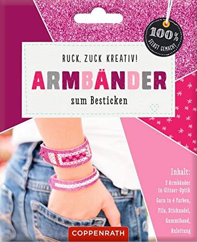 Ruck, zuck kreativ! Armbänder zum Besticken: Armbänder in Glitzer-Optik - pink (100% selbst gemacht)