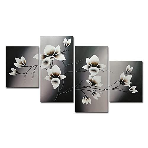 Wieco Art Elegant Blooming Flowers 4 Panels Modern 100% Hand Painted Stretched and Framed Contemporary Floral Oil Paintings Artwork on Canvas Wall Art Set for Living Room Bedroom Home Decor