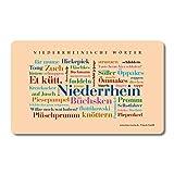 Tabla para desayuno, diseño de la palabra Niederrheinische Wörter, Tagcloud con la boca de Niederrhein. Una original y hermosa idea de regalo
