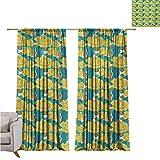 RuppertTextile Gardine Klassischer Vorhang Abstrakte Wirbel Hintergrund mit Blütenblättern und Blättern Frühlingsblumen violett blau beige W84 x L84 Style10