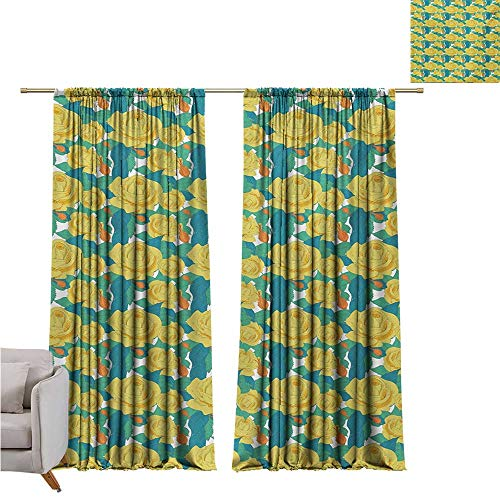 RuppertTextile Gardine Klassischer Vorhang Abstrakte Wirbel Hintergr& mit Blütenblättern & Blättern Frühlingsblumen violett blau beige W120 x L108 Style10
