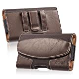 iNNEXT for iPhone 8 Plus XS Max Leather Pouch Holster Belt Case with Clip/Loops Magnetic Closure Belt Pouch Holder for iPhone 7 Plus 6 Plus with a Slim Hard Case on - Built in ID Card Slot (Brown)