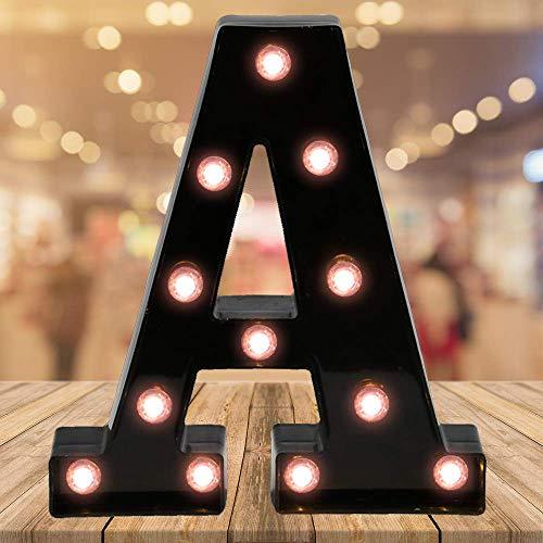 Oycbuzo Light up Letters LED Letter Black Alphabet Letter Night Lights for Home Bar Festival Birthday Party Wedding Decorative (Hletter-A)