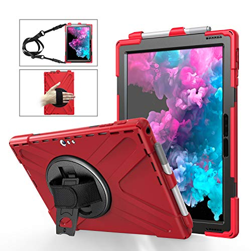 Microsoft Surface Pro 7/Pro 6 / Pro 5 / Pro 4 /Pro LTE Case w/Pen Holder, Full-Body Rugged Protective Carrying Case 360 Degree Rotating Stand Hand Strap w/Shoulder Belt Dropproof Tablet Case Cover,Red