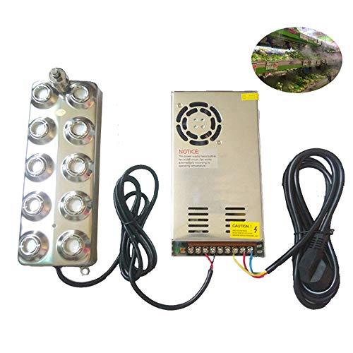 CGOLDENWALL ultrasone verstuiver voor fonteinen, mistmachine, verdamper, luchtbevochtiger, ultrasone vernevelaar voor verse groenten, 10 hoofd luchtbevochtiger + transformator 4,5 kg/h