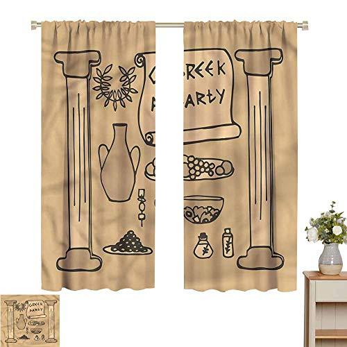 Wear Pole Curtains Kids Room Curtains Ancient Pillars Pots for Home Decoration Set of 2 Panels W55 x L62