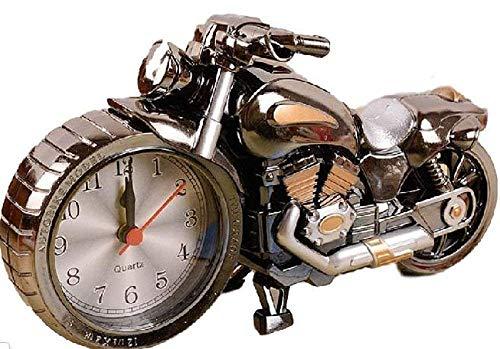 【morningplace】 バイク ハーレー風 目覚まし時計 かっこいい メタリック クラシック インテリア に (ブラックⅠ.)