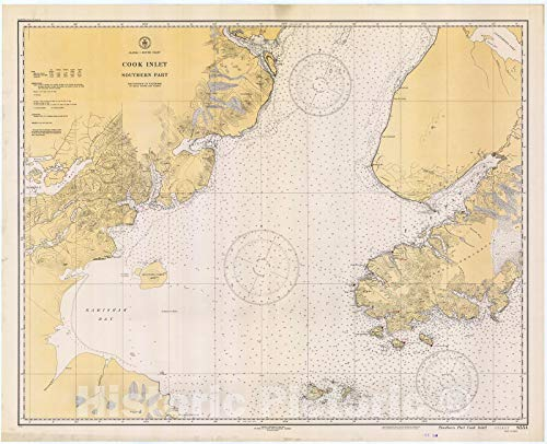 Historic Pictoric Vintage Map - Cook Inlet : Southern Part, 1934 Nautical NOAA Chart - Alaska (AK) - Vintage Wall Art - 24in x 18in