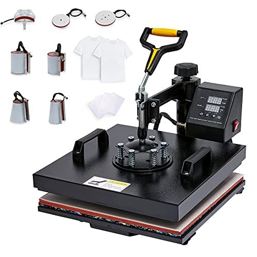 CO-Z Heißpresse Transferpresse Hitzepresse Heat Press Machine 360 Grad Tassenpresse Textilpresse Mulitifunktional Sublimation für T-Shirts Becher Platten Kappe (Upgrade 38 x 38cm 8 in 1)
