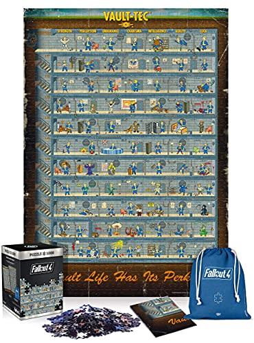 Good Loot Fallout 4 Perk Póster - Puzzle 1000 Piezas 68cm x 48cm | Incluye póster y Bolsa | Videojuego | Puzzle para Adultos y Adolescentes