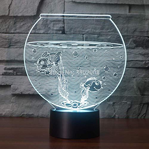 Gold Karpfen Aquarium 3d Form Nachtlicht als Kindergeschenk oder Raumdekor 7 wechselnde Farben