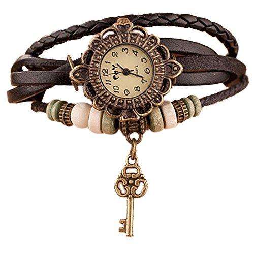 Westeng Braccialetto da Donna con orologio vintage, in pelle PU, da donna, con ciondolo a forma di chiave (cachi)