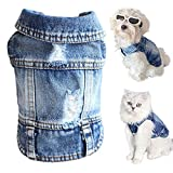 Dog Jean Jacket, Soft and Cool Shirt, Dog Cowboy Clothes Pet Jacket Coats, Puppy Outfits Blue Denim Vests for Small Medium Large Dogs Boy and Cats Clothing Apparel (S)