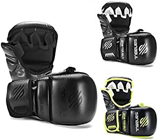 Sanabul Essential 7 oz Sparring MMA Gloves (Allblack, Large/X-Large)