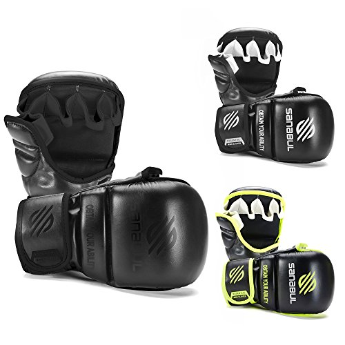 Sanabul Essential 7 oz Sparring MMA Gloves (Allblack, Small/Medium)